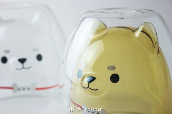 柴犬雙層玻璃杯太萌!倒入抹茶牛奶就變綠色柴柴