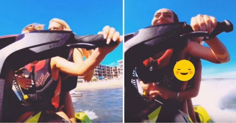 外國金髮浪妹太愛玩!水上摩托車一個Move「乳球失控晃出」...老司機鼻血